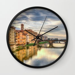 Arno River and Ponte Vecchio, Florence Wall Clock