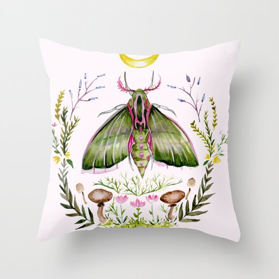 Pink Moth Throw Pillow