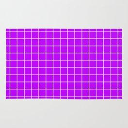 Electric purple - violet color - White Lines Grid Pattern Rug