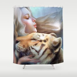 Angel of Tigers Shower Curtain