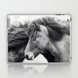 Icelandic Horse Photograph in Black and White Laptop & iPad Skin