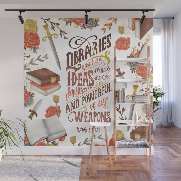 Libraries Were Full Of Ideas Wall Mural By Catarina Book Designs Society6