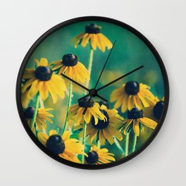 Emerald and Topaz Summer Botanical -- Prairie Coneflower / Mexican Hat Flower Wall Clock
