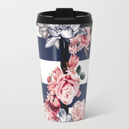 Nautical Vintage Anchor, Flowers and Stripes Travel Mug