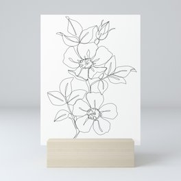 Floral one line drawing - Rose Mini Art Print