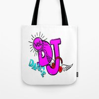 dj Tote Bags featuring DJ by Christa Bethune Smith