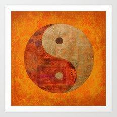 Yin and Yang original collage painting Art Print