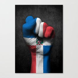 Dominican Flag on a Raised Clenched Fist Canvas Print