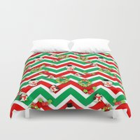 cartoons Duvet Covers featuring Festive Christmas Cartoons on Chevron Pattern by Kirsten Star