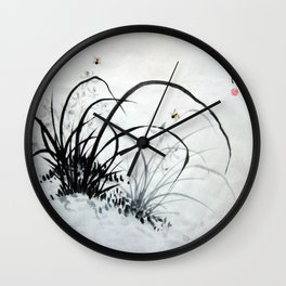 Black & White Chinese Orchids Wall Clock