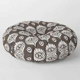 Black and white stylized peacock pattern Floor Pillow