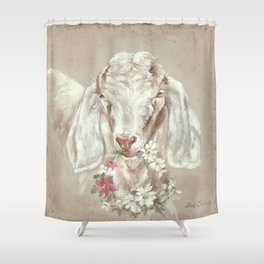 Goat with Floral Wreath by Debi Coules Shower Curtain