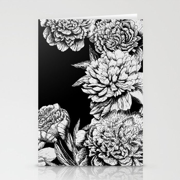 FLOWERS IN BLACK AND WHITE Stationery Cards