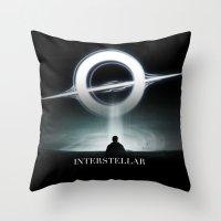 interstellar Throw Pillows featuring INTERSTELLAR by Tony Vazquez