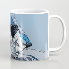 Ski over avalanche//snow mountain//Mountain Ski Landscape Blue and White sketch Vibes Coffee Mug