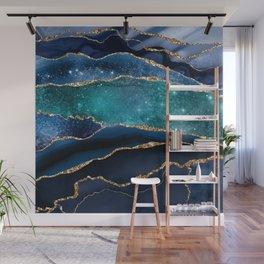 Blue Night Galaxy Marble Wall Mural