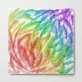 Rainbow Feathers Metal Print