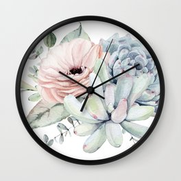 Pastel Succulents by Nature Magick Wall Clock