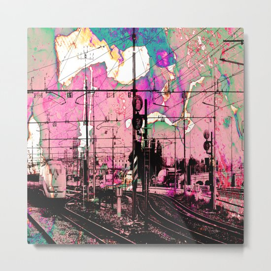All About the Journey, Abstract Grunge Train Metal Print