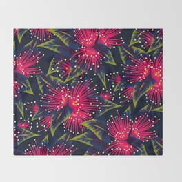 New Zealand Rata floral print (Night) Throw Blanket