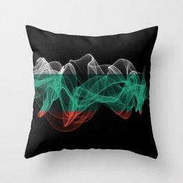 Bulgaria Smoke Flag on Black Background, Bulgaria flag Throw Pillow
