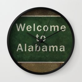 Alabama roadside sign illustration, with distressed ominous background Wall Clock