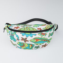 A pattern of fancy bizarre sea creatures. Style Doodle. Vector illustration. Fanny Pack