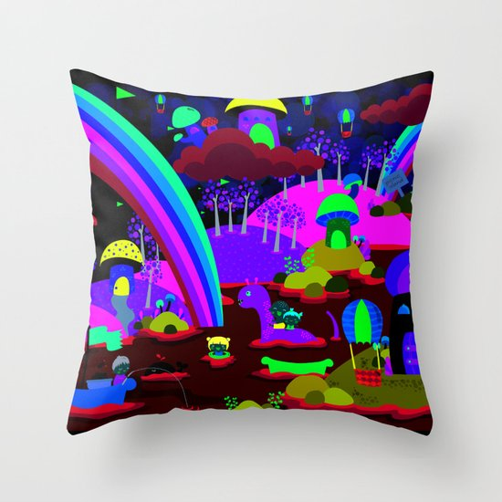 rainbow land Throw Pillow