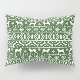 Akita dog breed fair isle christmas sweater pattern funny dog lover gifts Pillow Sham