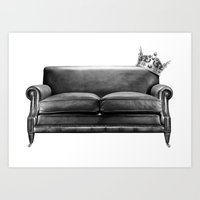 sofa Art Prints featuring Sofa King by sustici