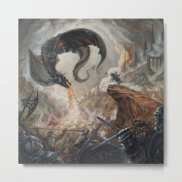 Black Battle Dragon Metal Print