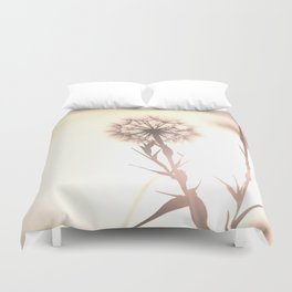 Pink Distant Dandelion Flower - Floral Nature Photography Art and Accessories Duvet Cover