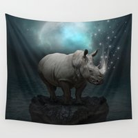 medicine Wall Tapestries featuring Power Is No Blessing In Itself v.2 (Protect the Rhino)  by soaring anchor designs