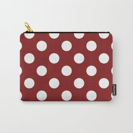 OU Crimson red - red - White Polka Dots - Pois Pattern Carry-All Pouch