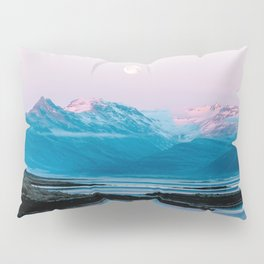 Ducks in front of a moonlit mountain at sunrise – Landscape Photography Pillow Sham