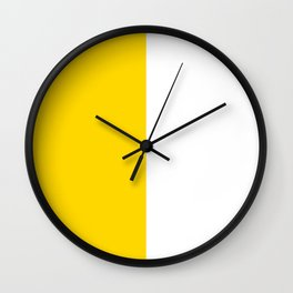 White and Gold Yellow Vertical Halves Wall Clock