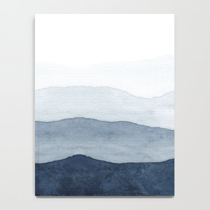 Indigo Abstract Watercolor Mountains Notebook