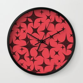 Shimmering Black Stars in Red Background Wall Clock