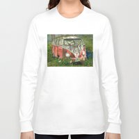 volkswagon Long Sleeve T-shirts featuring VW Bus in the Woods by Barb Laskey Studio