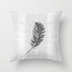 Lovely grey feather Throw Pillow