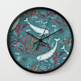 Narwhal Toile - teal blue Wall Clock