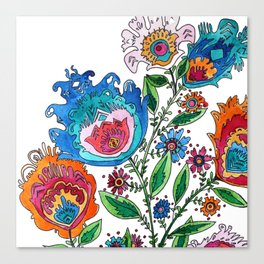 Folkart Bouquet Canvas Print