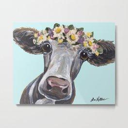 Cow Art Print, Flower Crown Cow Art Metal Print