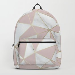 Marble, Geometric, Blush Pink and Gold Abstract Pattern Backpack