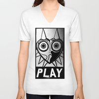 majora V-neck T-shirts featuring Majora Has A Posse by Shy Guy Street Art