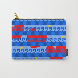 Graceful Blue Swans and Red Hearts Pattern Carry-All Pouch