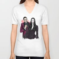 selena gomez V-neck T-shirts featuring Gomez & Morticia by Myrtle Quillamor