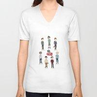 youtube V-neck T-shirts featuring Youtube Boys  by Natasha Ramon