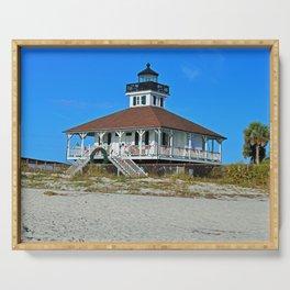 Boca Grande Lighthouse at Christmas Serving Tray