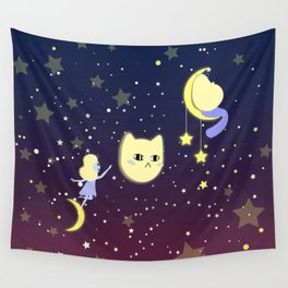 Catgirls in space with more stars Wall Tapestry